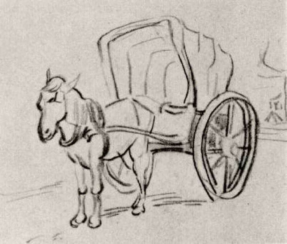 Рисунки лошадь с повозкой