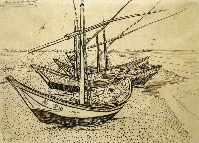 Fishing Boats on the Beach at Les Saintes Maries de la Mer - by Vincent van Gogh
