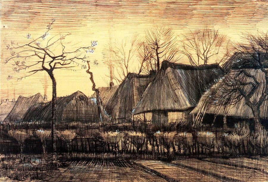 Houses with Thatched Roofs - by Vincent van Gogh