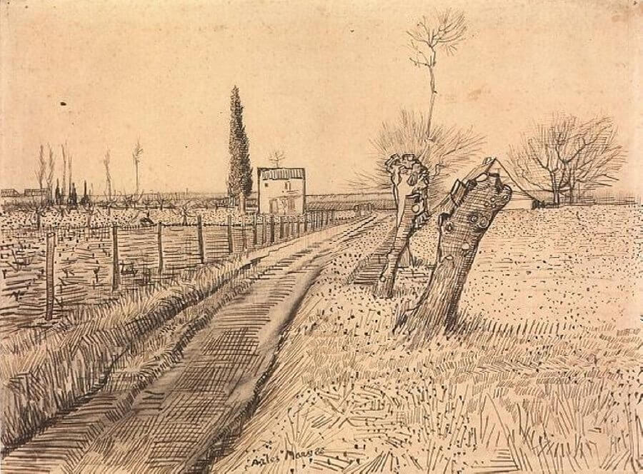 Van Gogh Drawings Trees Landscape with Path an...