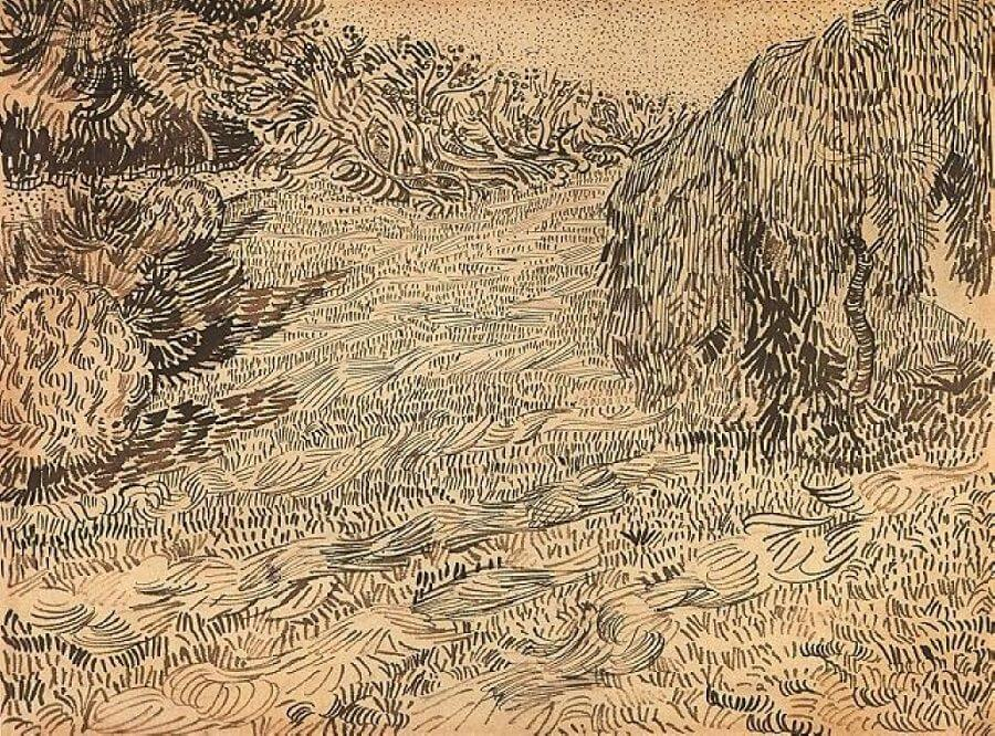 Newly Mowed Lawn with Weeping Tree - by Vincent van Gogh