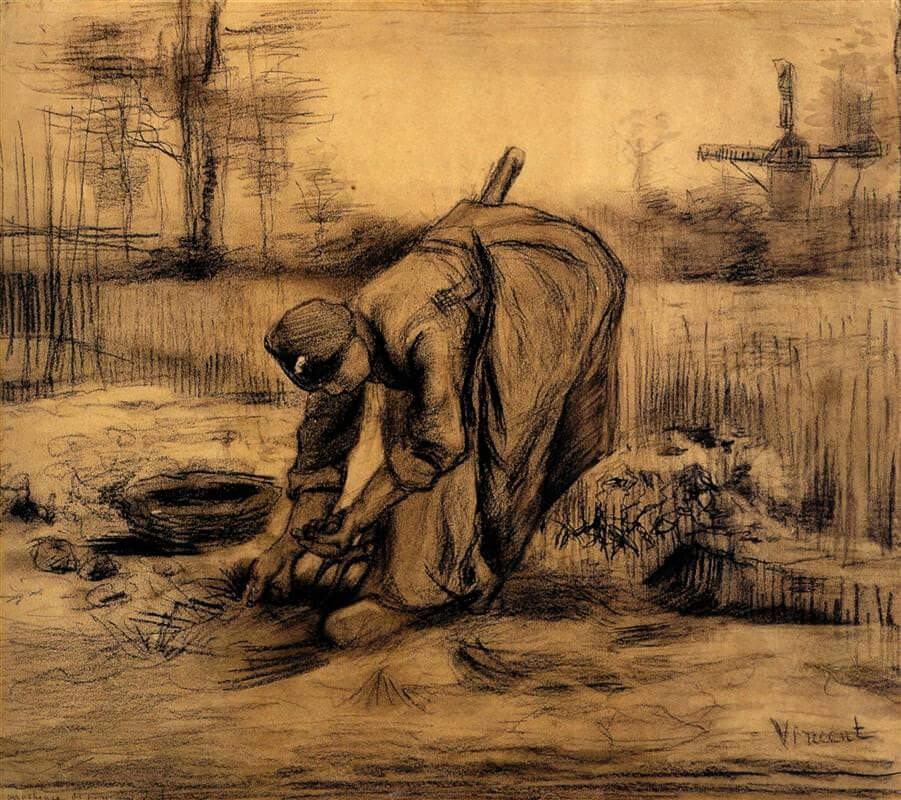 Peasant Woman Lifting Potatoes - by Vincent van Gogh