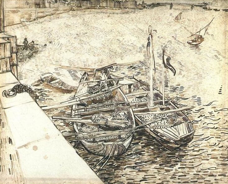 Sand Barges on the Rhone - by Vincent van Gogh