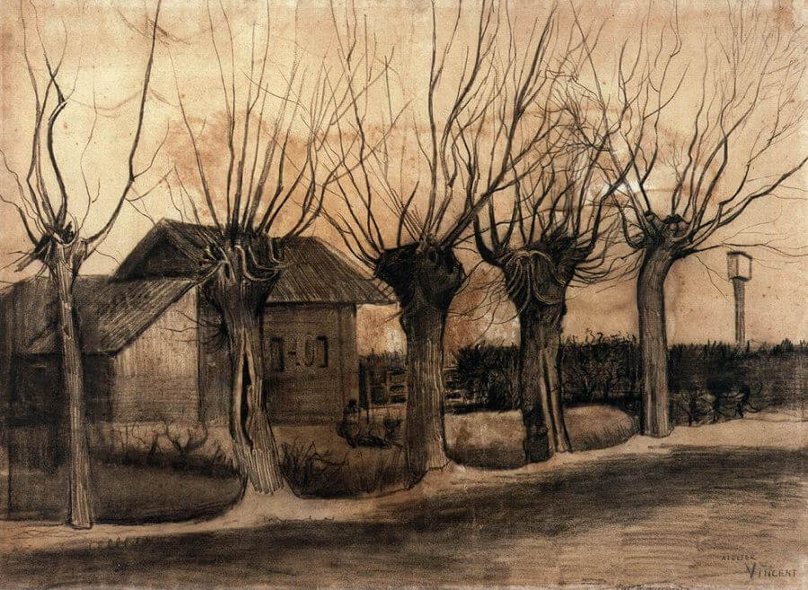 Small House on a Road with Pollar Willows - by Vincent van Gogh