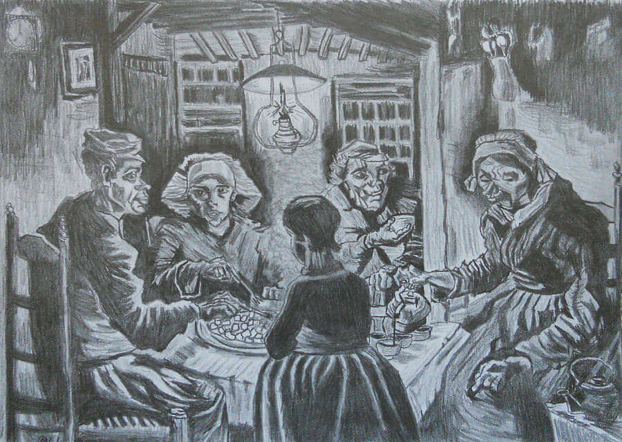 Drawing of The Potato Eaters, 1885 by Van Gogh