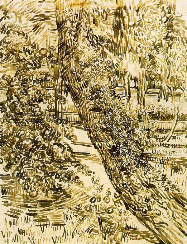 Tree with Ivy in the Asylum Garden - by Vincent van Gogh
