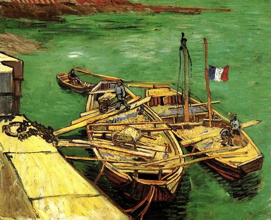 Barges on the Rhone River, 1888 by Vincent Van Gogh