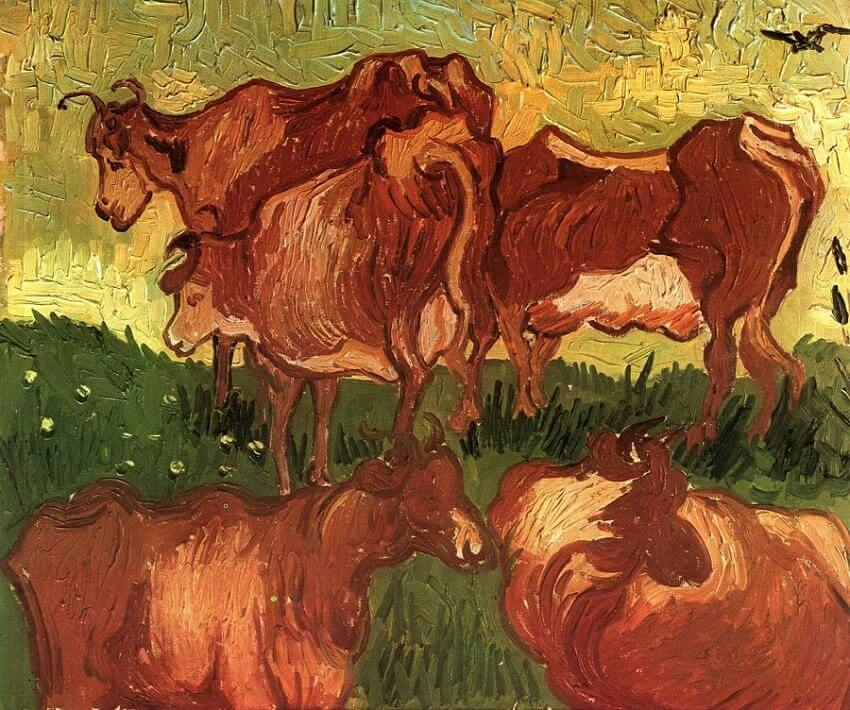Cows, 1890 by Vincent Van Gogh