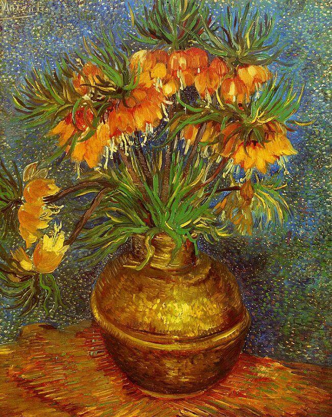 Fritillaries In A Copper Vase 1887 By Vincent Van Gogh