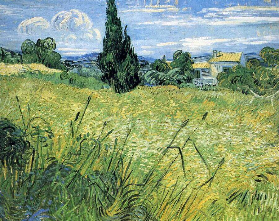 Green Wheat Field with Cypress Tree, 1889 by Vincent Van Gogh
