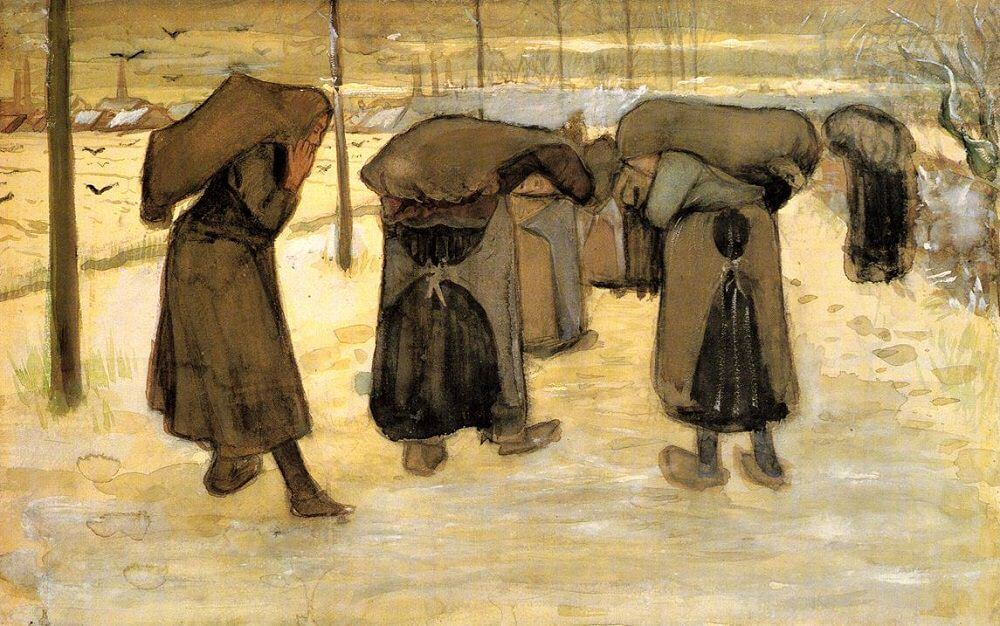 Miners' Wives Carrying Sacks of Coal, 1882, 1888 by Vincent Van Gogh