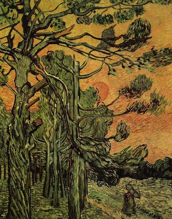 Pine Trees against an Evening Sky, 1889 by Van Gogh
