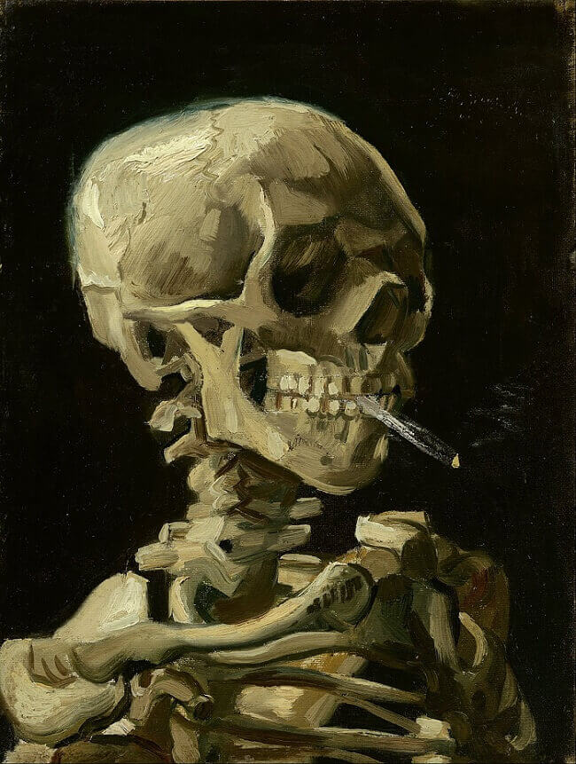 Skull of a Skeleton with Burning Cigarette, 1885 by Vincent Van Gogh