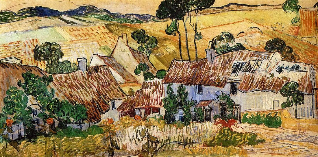 Thatched Houses against a Hill, 1890 by Van Gogh