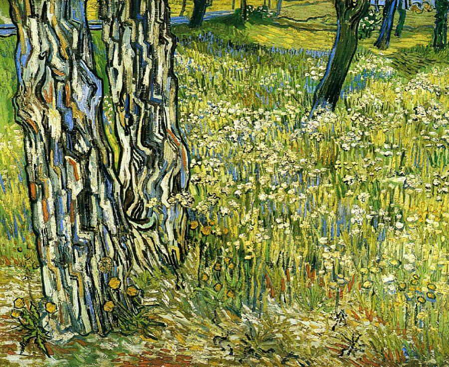 Tree Trunks in the Grass, 1890 by Van Gogh