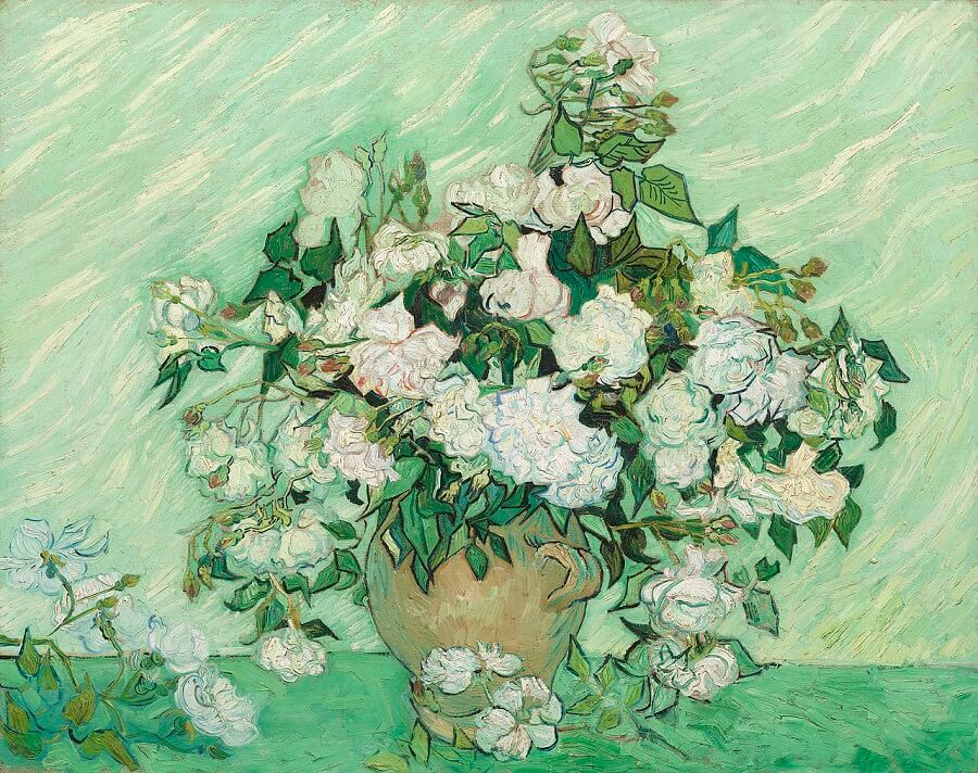 Vase With Pink Roses 1890 By Vincent Van Gogh