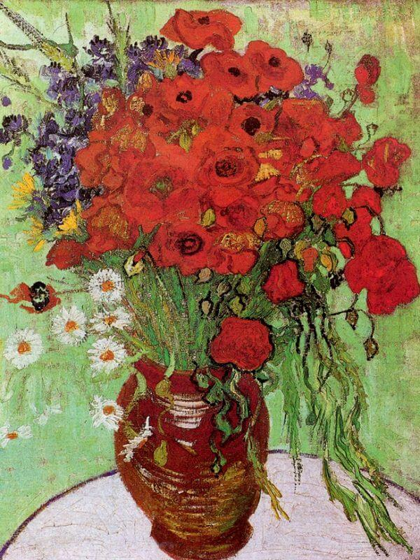Vincent van Gogh & Vase with Red Poppies and Daisies 1890 by Vincent Van Gogh