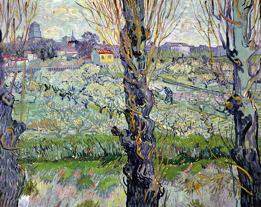 View of Arles, Flowering Orchards, 1889 by Vincent Van Gogh