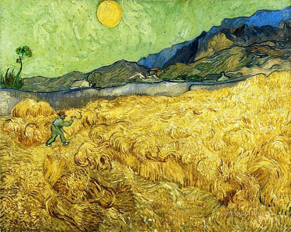 Wheatfield with a Reaper, 1889 by Vincent van Gogh