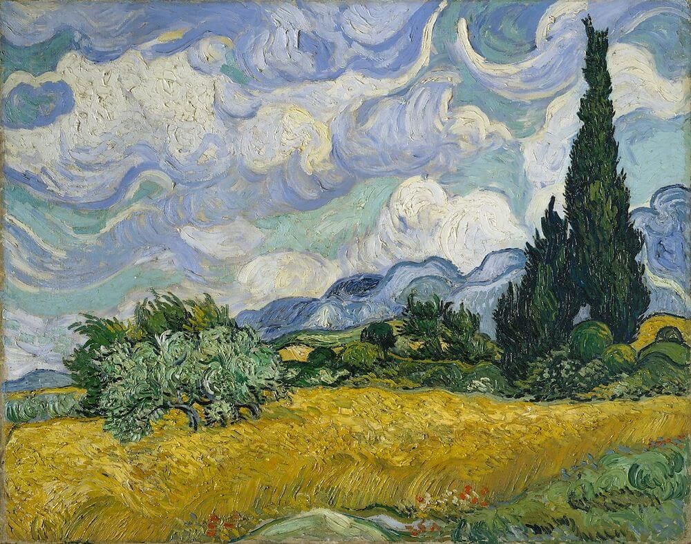 Image result for A Wheatfield with Cypresses 1889